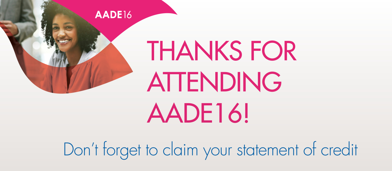 Thanks for Attending AADE16