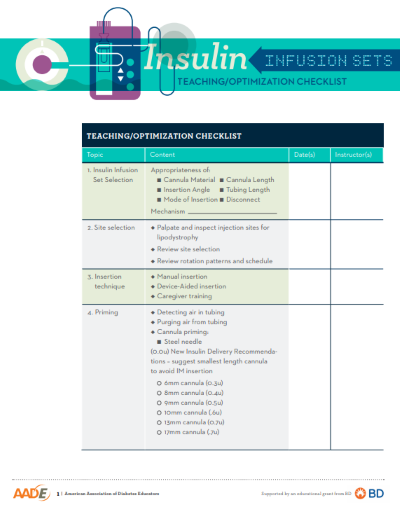 Insulin Infusion Sets--Teaching and Optimization Checklist