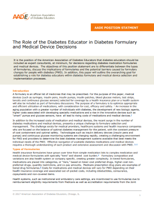 The Role of Diabetes Educators in Formulary and Medical Device Decisions