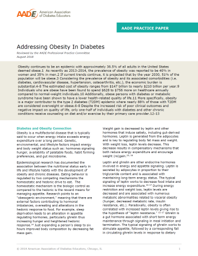 Obesity and Diabetes Practice Paper