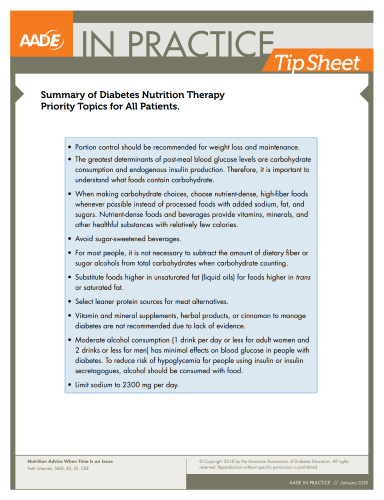 Summary of Diabetes Nutrition Therapy