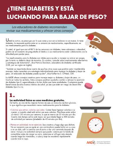 Weight Loss and Diabetes Tip Sheet Espanol
