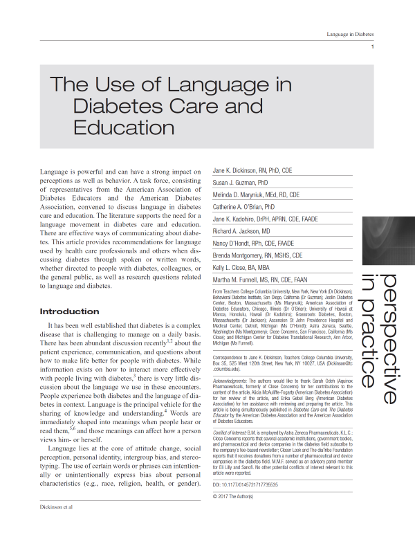 Use of Language in Diabetes Care and Education
